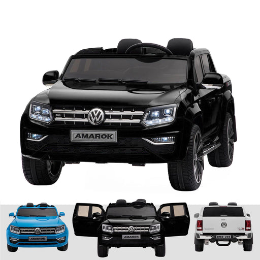 kids vw amarok 12v battery electric ride on car with remote 24v black2 Black pick up ride on car 4wd