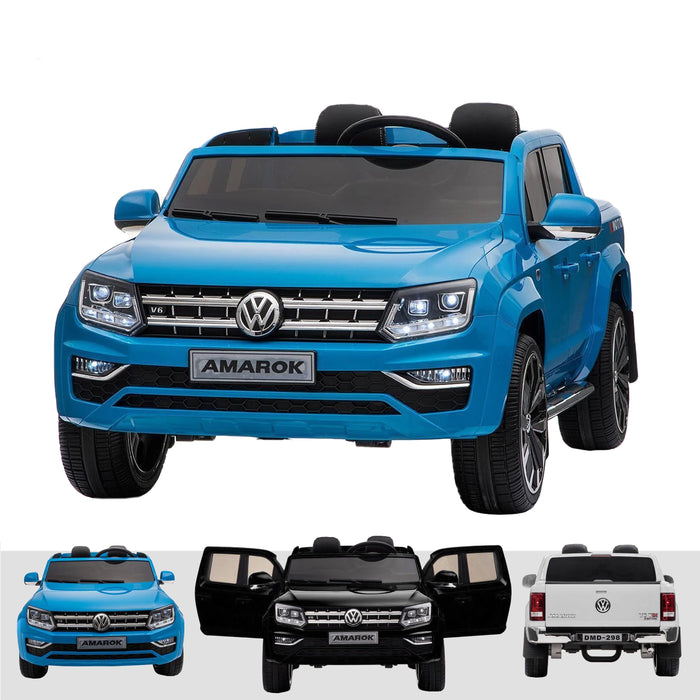 kids vw amarok 12v battery electric ride on car with remote 24v blue2 Blue pick up ride on car 4wd