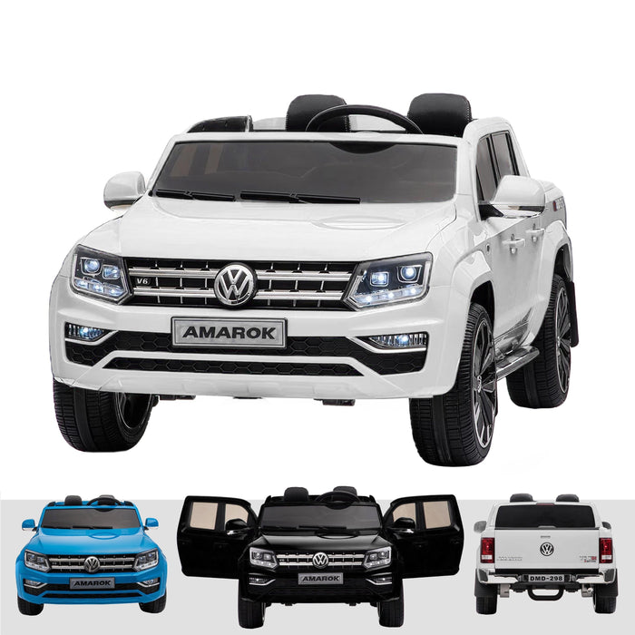 kids vw amarok 12v battery electric ride on car with remote 24v white2 White pick up ride on car 4wd