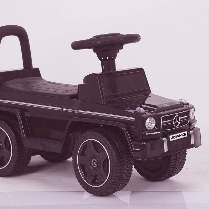 kidspush along mercedes g63 amg with seat storage media centre ride on car 2 black front kids push box and