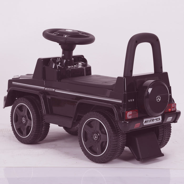 kidspush along mercedes g63 amg with seat storage media centre ride on car 2 black rear kids push box and