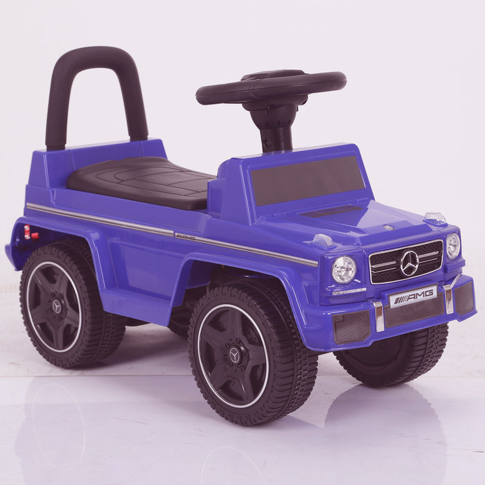 kidspush along mercedes g63 amg with seat storage media centre ride on car 2 blue perspective 2 kids push box and black