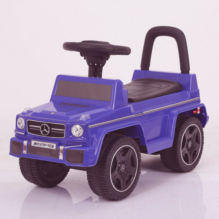 kidspush along mercedes g63 amg with seat storage media centre ride on car 2 blue perspective kids push box and black