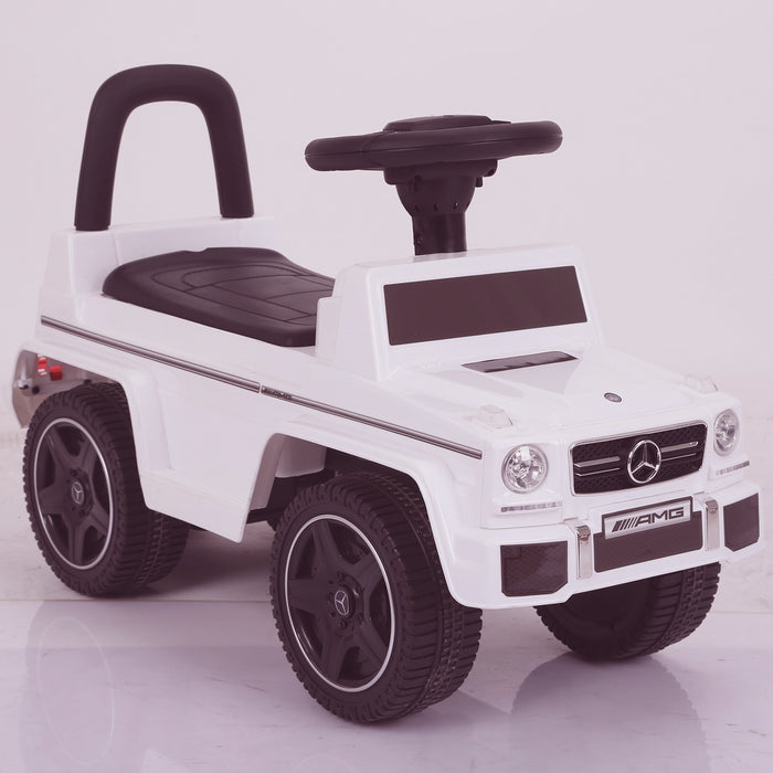 kidspush along mercedes g63 amg with seat storage media centre ride on car 2 front angle 2 kids push box and pink
