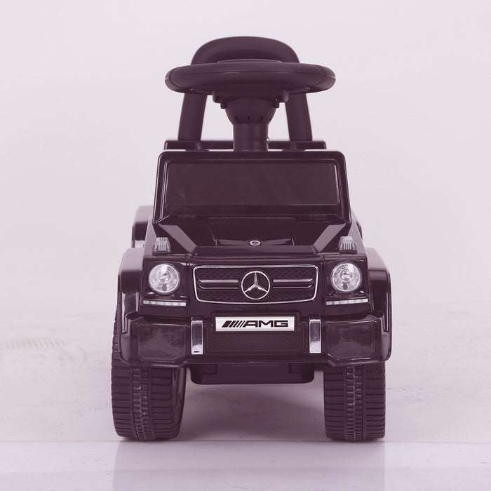 kidspush along mercedes g63 amg with seat storage media centre ride on car 2 front direct kids push box and pink