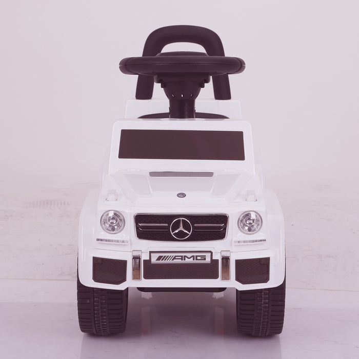 kidspush along mercedes g63 amg with seat storage media centre ride on car 2 front white kids push box and black