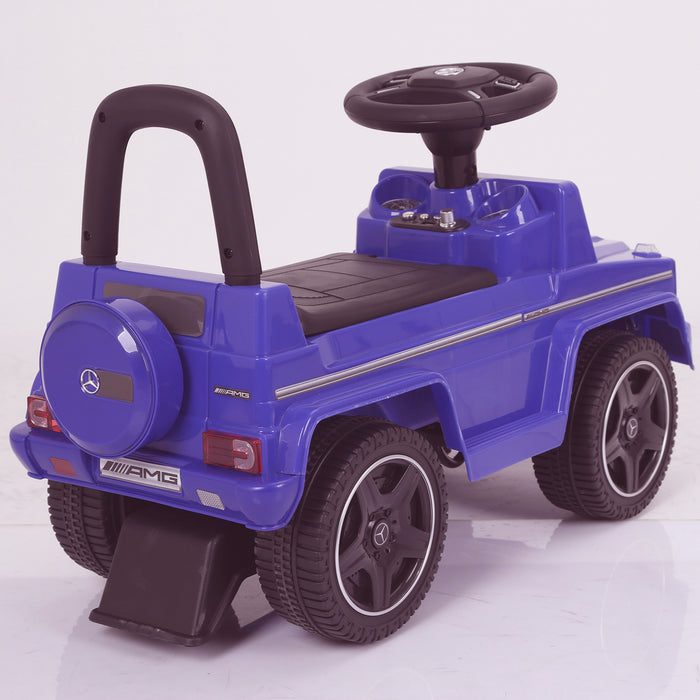 kidspush along mercedes g63 amg with seat storage media centre ride on car 2 rear blue kids push box and