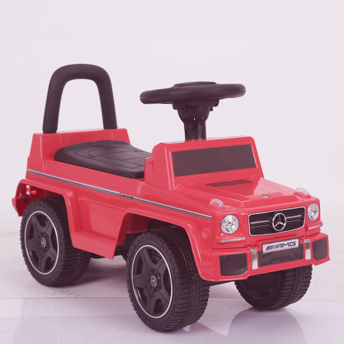 kidspush along mercedes g63 amg with seat storage media centre ride on car 2 red perspective 2 kids push box and black