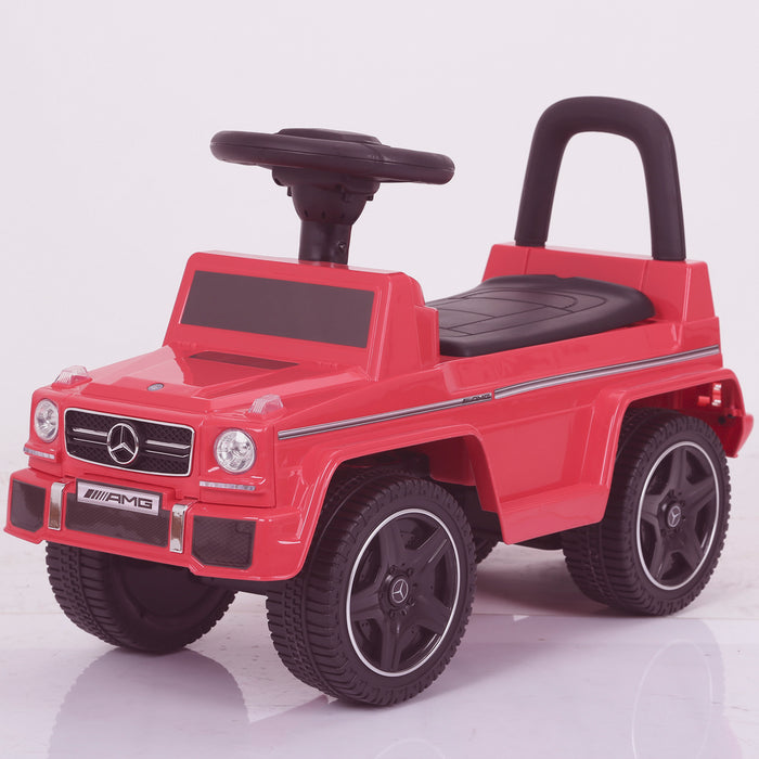 kidspush along mercedes g63 amg with seat storage media centre ride on car 2 red perspective kids push box and pink