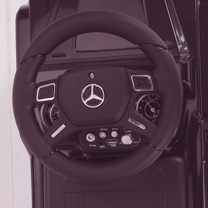 kidspush along mercedes g63 amg with seat storage media centre ride on car 2 steering black kids push box and pink