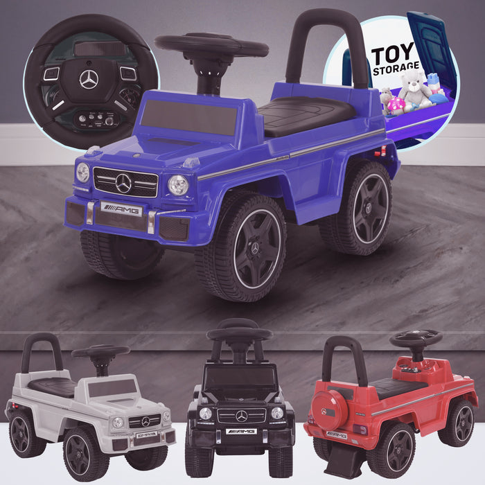 kidspush along mercedes g63 amg with seat storage media centre ride on car blue kids push box and black