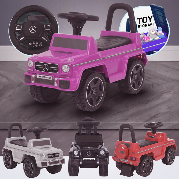 kidspush along mercedes g63 amg with seat storage media centre ride on car pink kids push box and pink