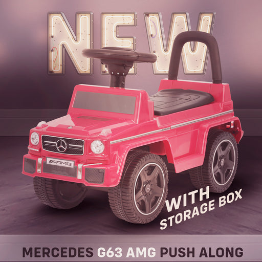 kidspush along mercedes g63 amg with seat storage media centre ride on car red new Pink kids push box and