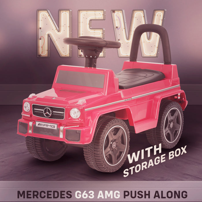 kidspush along mercedes g63 amg with seat storage media centre ride on car red new kids push box and black