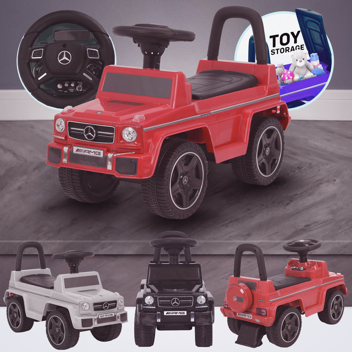 kidspush along mercedes g63 amg with seat storage media centre ride on car red kids push box and black