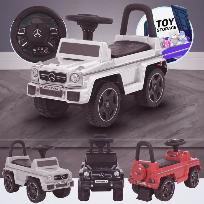 kidspush along mercedes g63 amg with seat storage media centre ride on car white kids push box and black