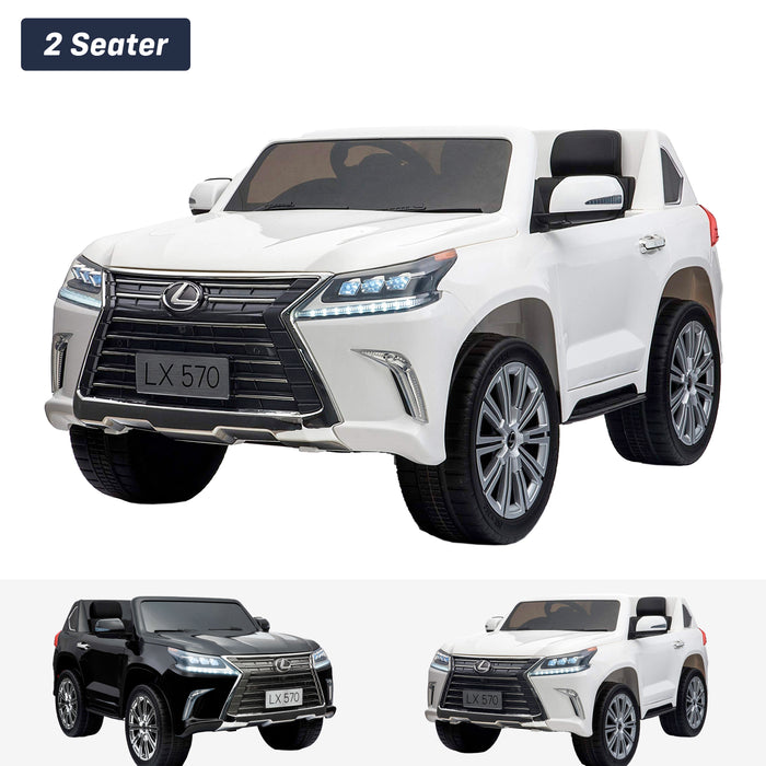 lexus lx 570 licensed 12v battery electric ride on car with remote white2 1 White licensed kids 4wd ride on car suv remote control music 24v