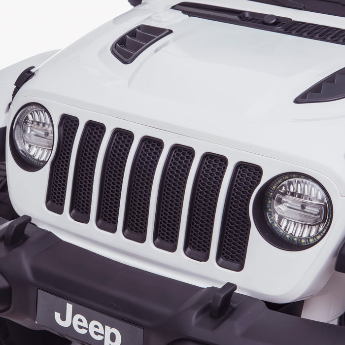 licensed kids 12v jeep wrangler rubicon ride on car jeep with parental remote control front close up 2wd painted grey