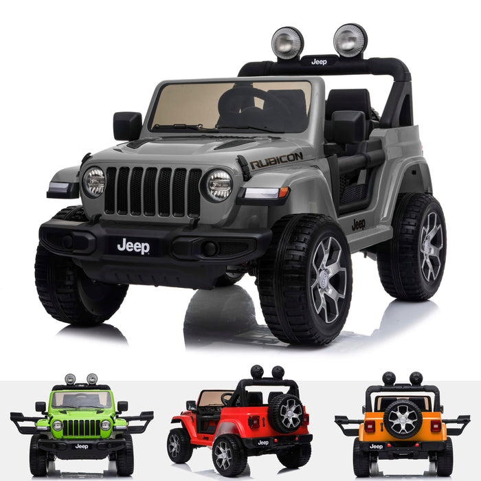 licensed kids 12v jeep wrangler rubicon ride on car jeep with parental remote control gray 2wd painted green