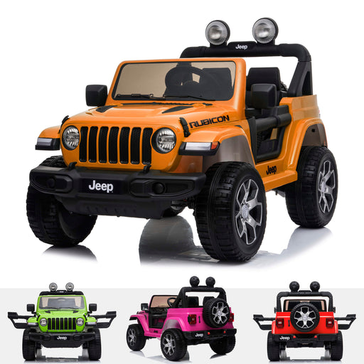 licensed kids 12v jeep wrangler rubicon ride on car jeep with parental remote control orange 2wd painted orange