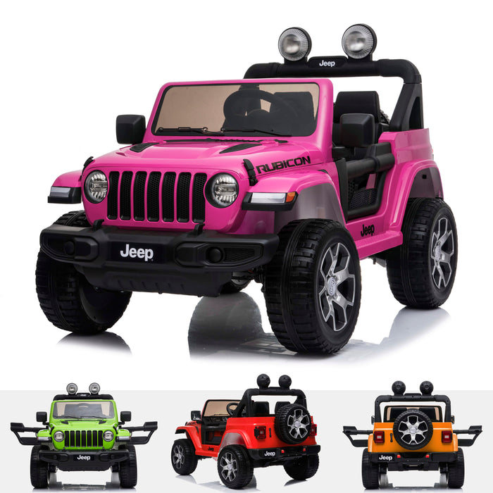 licensed kids 12v jeep wrangler rubicon ride on car jeep with parental remote control pink 2wd painted orange