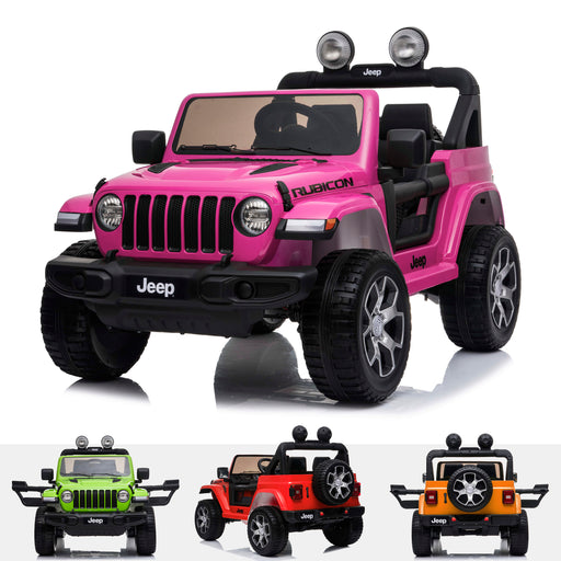 licensed kids 12v jeep wrangler rubicon ride on car jeep with parental remote control pink 2wd pink