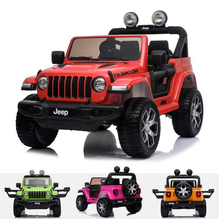 licensed kids 12v jeep wrangler rubicon ride on car jeep with parental remote control red Red 2wd
