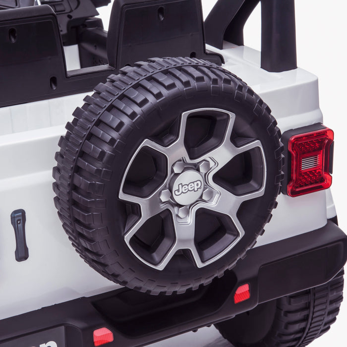 licensed kids 12v jeep wrangler rubicon ride on car jeep with parental remote control spare wheel 2wd painted grey