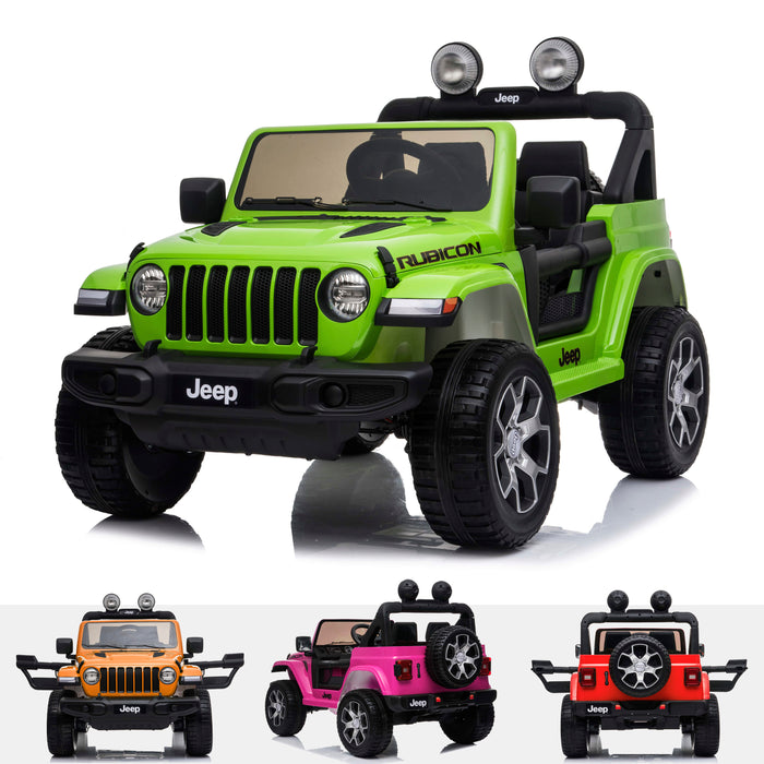 licensed kids 12v jeep wrangler rubicon ride on car jeep with parental remote control 2wd painted green