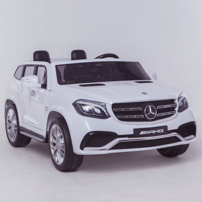 licensed kids 24v mercedes benz gls 63s amg ride on car jeep with parental remote control two seater front angle white 2 63 electric 4wd painted grey