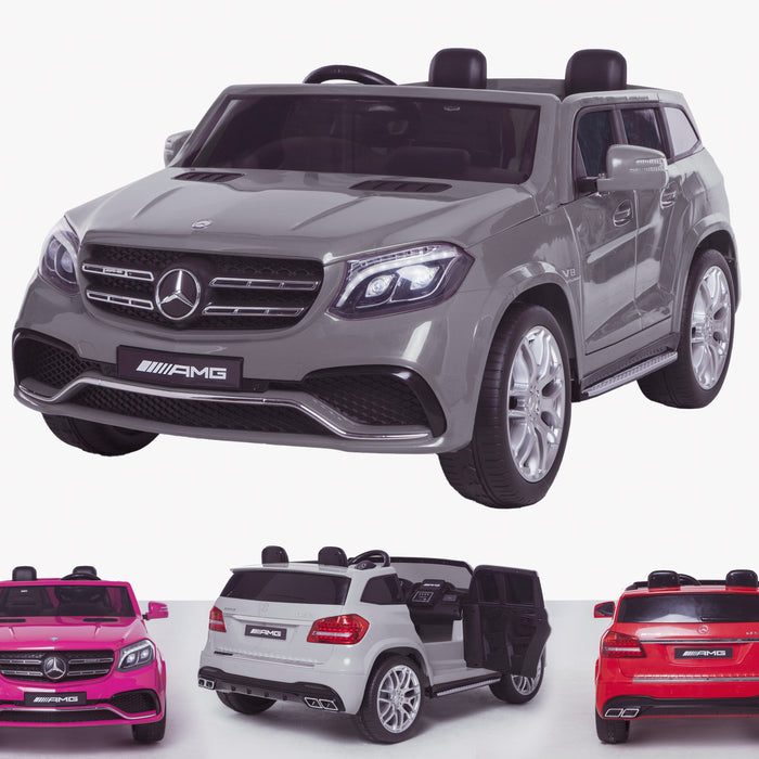 licensed kids 24v mercedes benz gls 63s amg ride on car jeep with parental remote control two seater gray 2 63 electric 4wd painted grey