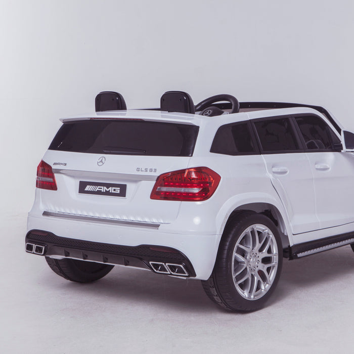 licensed kids 24v mercedes benz gls 63s amg ride on car jeep with parental remote control two seater rear close up white 2 63 electric 4wd white
