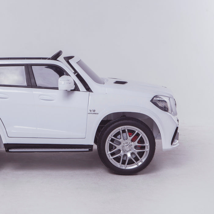licensed kids 24v mercedes benz gls 63s amg ride on car jeep with parental remote control two seater side close up white 2 63 electric 4wd white