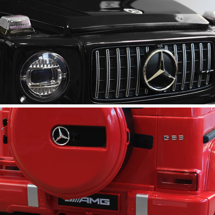 mercedes g63 amg 2019 front rear2 black red licensed ride on car in