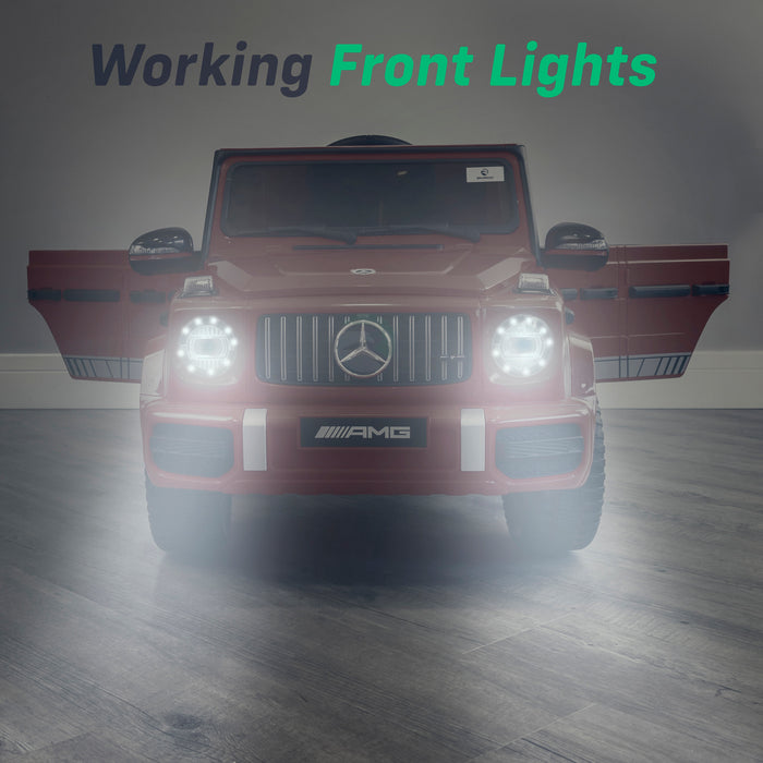 mercedes g63 amg 2019 lights red2 licensed ride on car in red