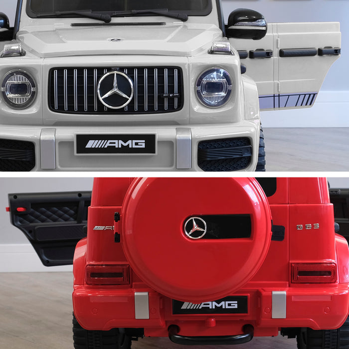 mercedes g63 amg 2019 white red licensed ride on car in red