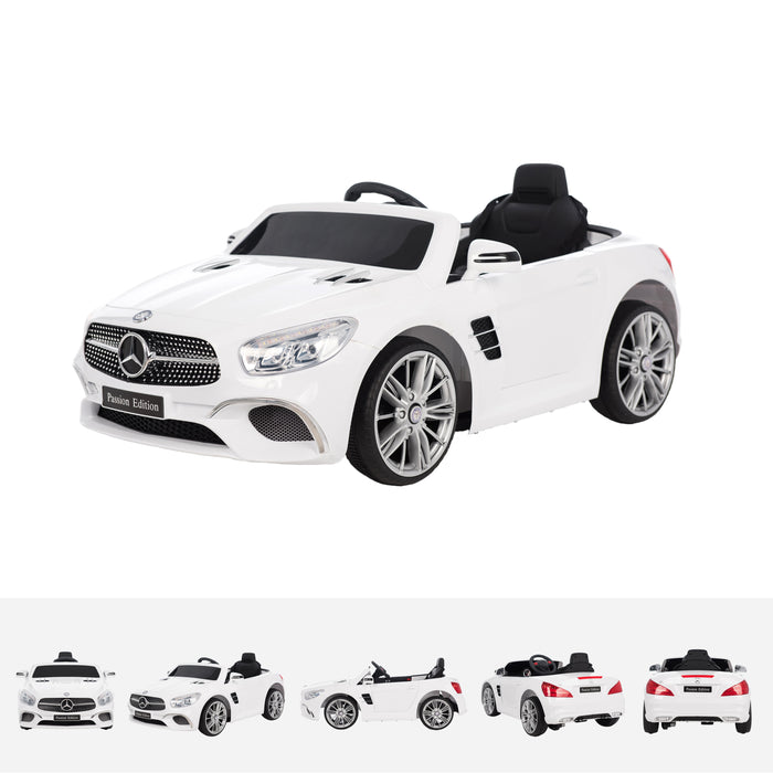 mercedes sl400 white trois quarts White licensed mercedes sl400 electric ride on car battery powered with remote music