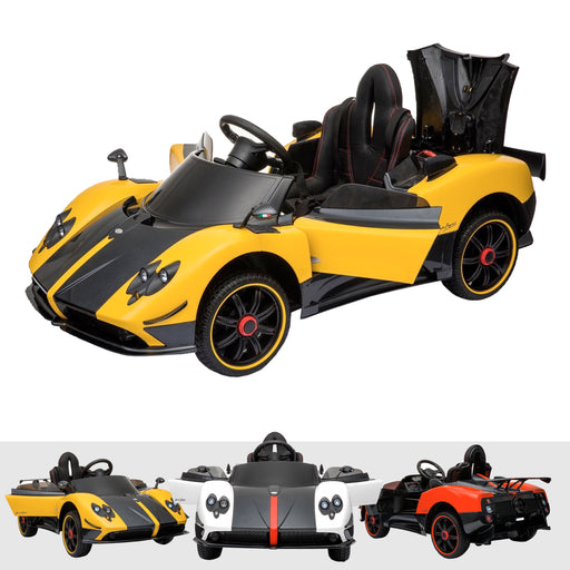 pagani zonda s licensed 12v battery electric ride on car with remote yellow1 Yellow official licensed 12v f roadster ride on car electric leather seat