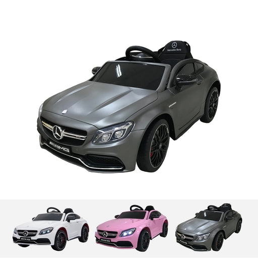 qy1588 mercedes c63 grey riiroo licensed mercedes c63 amg 12v electric battery ride on car remote music