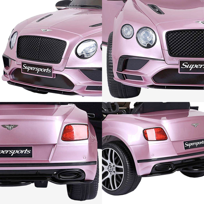 riiroo kids official licensed bentley continental supersport electric ride on car with parental remote pink 5 super sports 12v 2wd red black painted