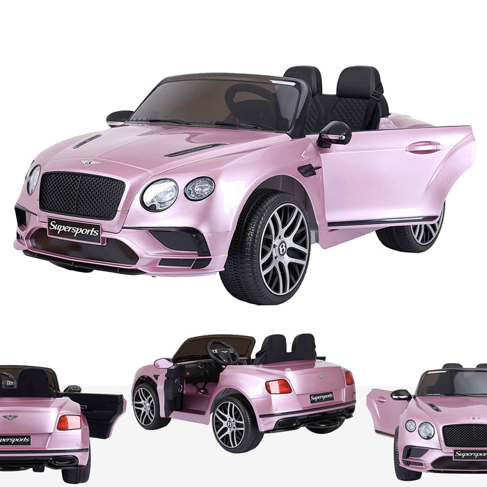 riiroo kids official licensed bentley continental supersport electric ride on car with parental remote pink super sports 12v 2wd white