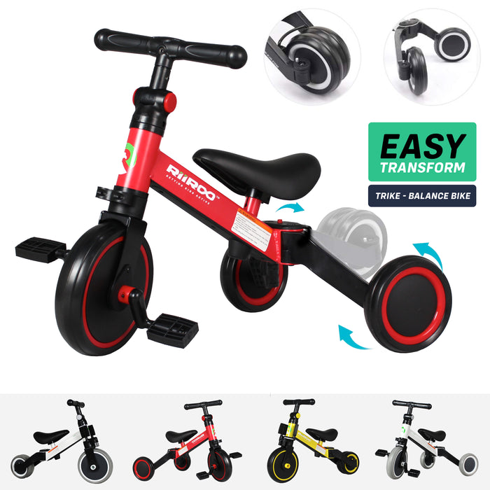 riiroo three in one trike red Red 3 1 kids tricycles wheel toddler balance bike adjustable seat