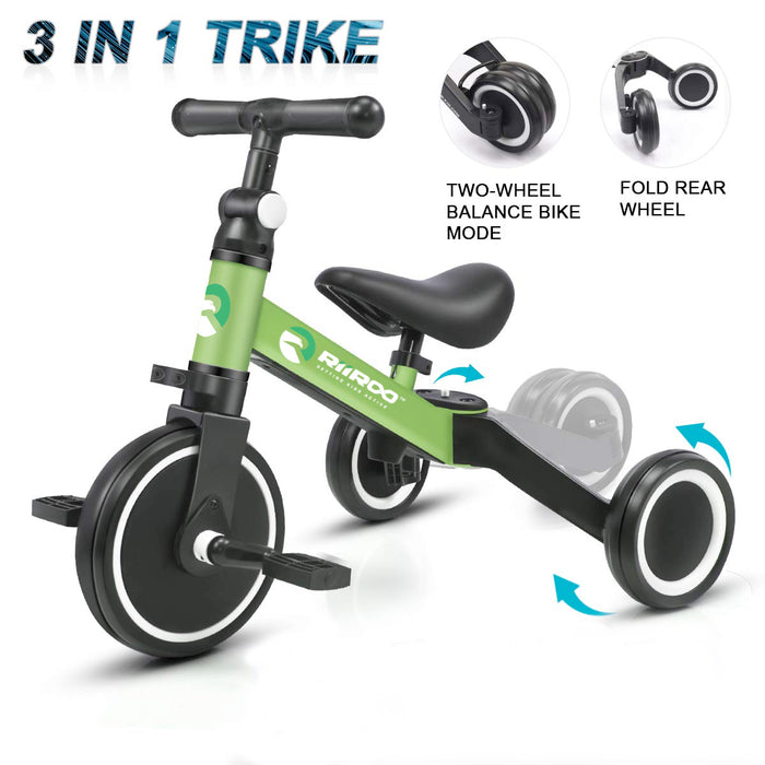 riiroo two in one trike balance bike 3 1 kids tricycles wheel toddler adjustable seat