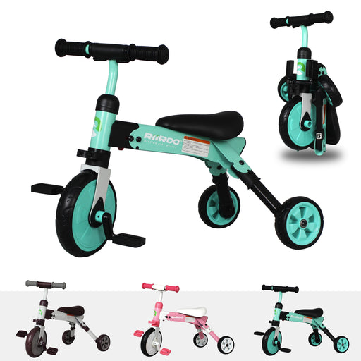 riiroo two in one trike green Green 2 1 kids tricycles toddler bike 3 wheels folding 4 years old