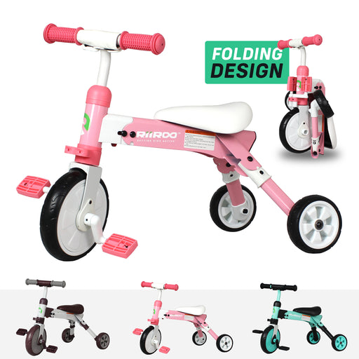 riiroo two in one trike pink Pink 2 1 kids tricycles toddler bike 3 wheels folding 4 years old