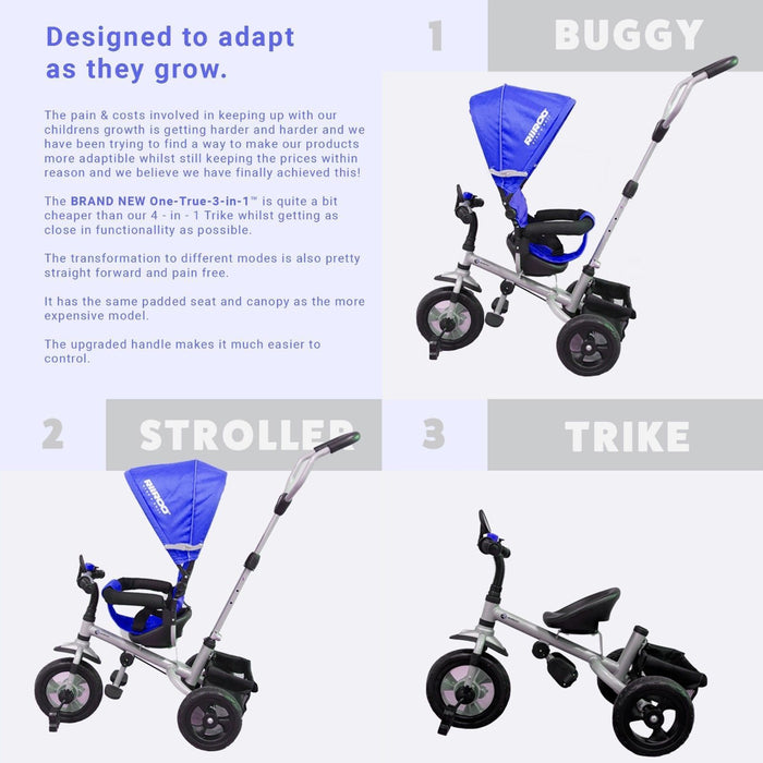 RiiRoo 3 Wheel Trike For Toddlers Ride On Buggy Handle Bar 3 In 1 Light Blue