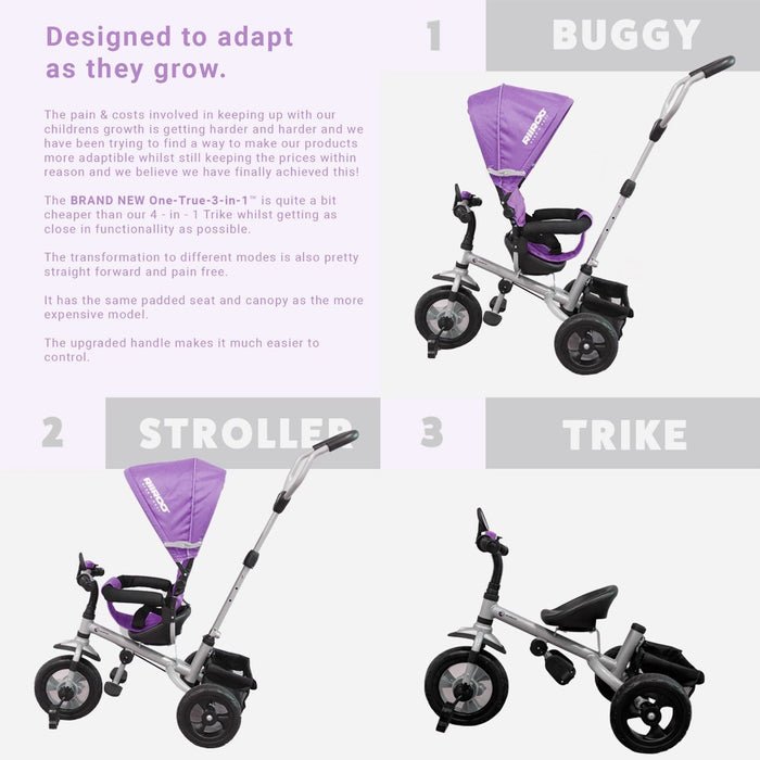 RiiRoo 3 Wheel Trike For Toddlers Ride On Buggy Handle Bar 3 In 1