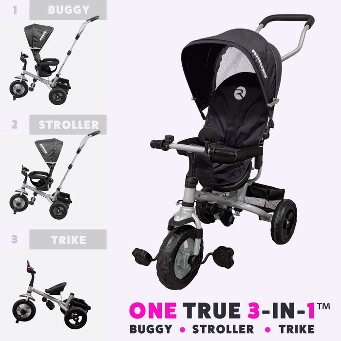 RiiRoo 3 Wheel Trike For Toddlers Ride On Buggy Handle Bar 3 In 1 Black