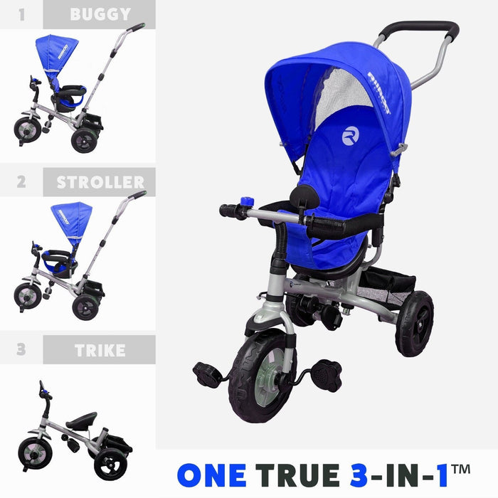 RiiRoo 3 Wheel Trike For Toddlers Ride On Buggy Handle Bar 3 In 1 Blue