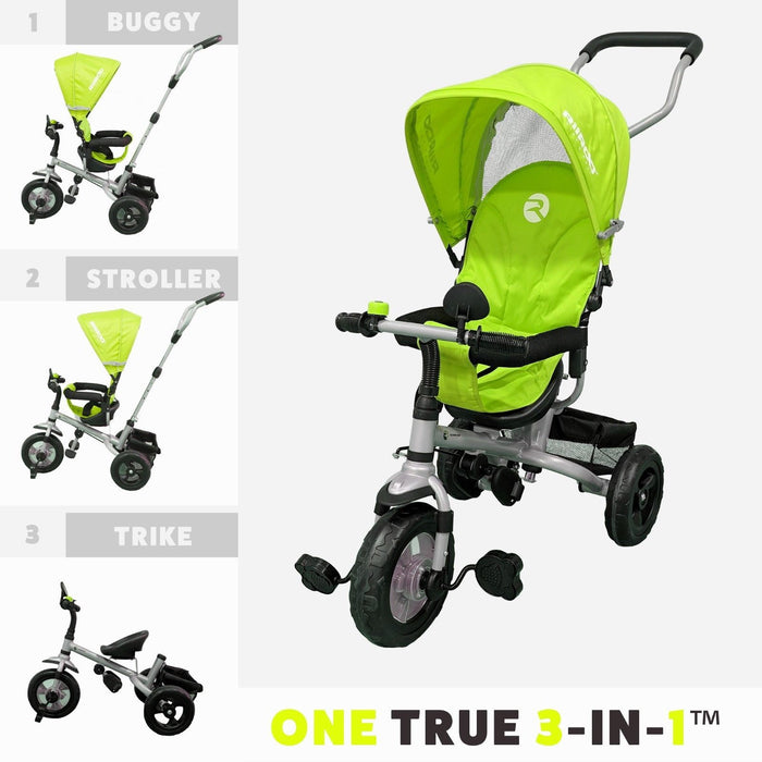 RiiRoo 3 Wheel Trike For Toddlers Ride On Buggy Handle Bar 3 In 1 Green